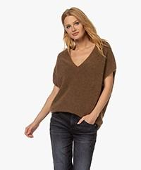 no man's land Mohair Blend V-neck Sweater - Almond