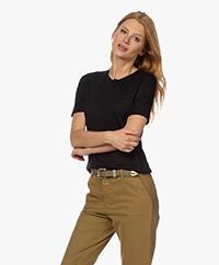 Drykorn Fammy Lyocell Blend Short Sleeve Pullover - Black
