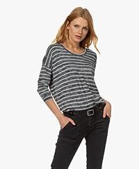 Rag & Bone The Knit Striped Viscose Blend Long Sleeve - Heather Grey/Black