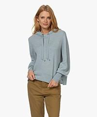 Repeat Organic Cashmere Hooded Sweater - Aqua