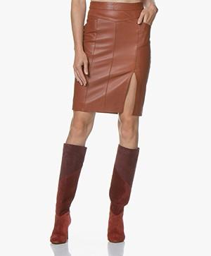 MKT Studio Jamaya Leather Pencil Skirt - Cognac