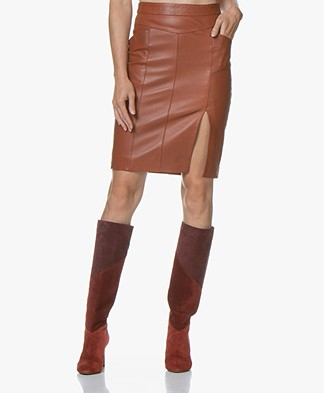 MKT Studio Jamaya Leather Pencil Skirt - Cognac