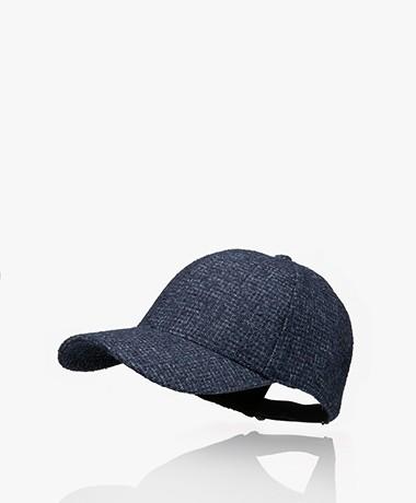 Varsity Headwear Alpaca Blend Bouclé Check Cap - Dark Blue/White