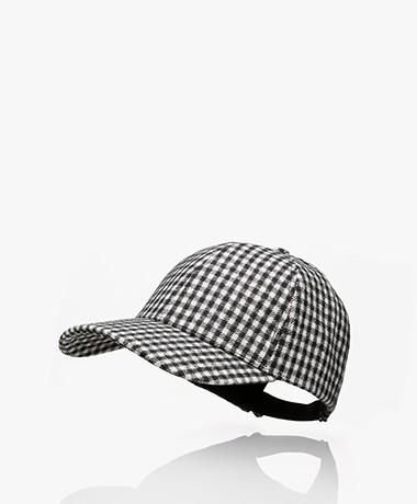 Varsity Headwear Wollen Gingham Geruite Pet - Zwart/Wit
