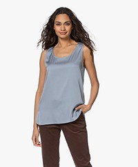 Repeat Mouwloze Stretch-Zijden Top - Dusty Blue