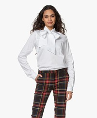 Woman by Earn Peaky Poplin Strikhals Blouse - Wit