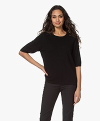 Sibin/Linnebjerg Bella Merino Blend Sweater with Half-length Sleeves - Black