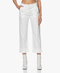 LaSalle Straight Stretch Cotton Blend Pants - Panna