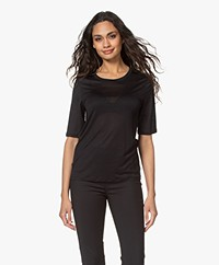 Filippa K Elena Tencel Elbow-length Sleeve T-shirt - Black