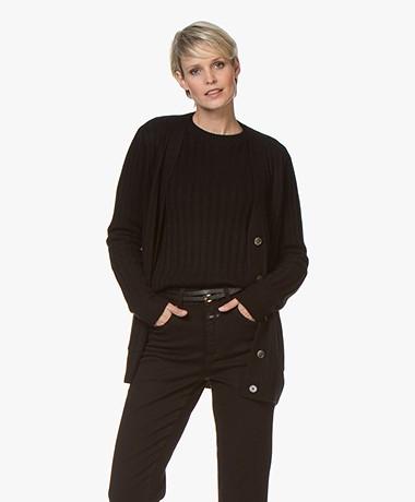 Repeat Luxury Cashmere Rib Gebreid Vest - Zwart