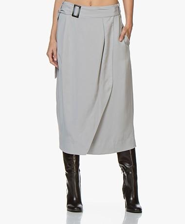 Josephine & Co Abelia Tencel Midi Skirt - Light Grey