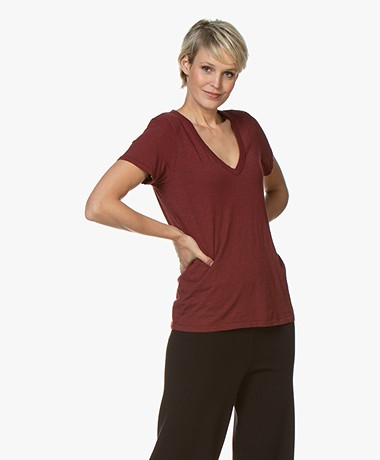 Rag & Bone The Vee Pima T-shirt - Black Cherry