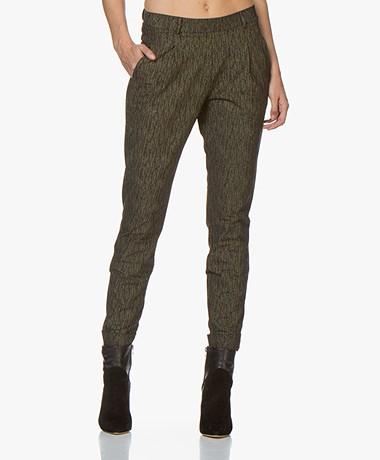 JapanTKY Hanna Travel Jersey Pantalon met Glitterdessin - Zwart/Goud