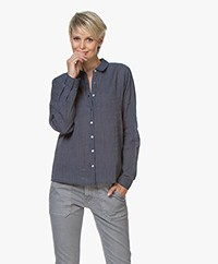 indi & cold Cero Pinstripe Shirt - Dark Blue