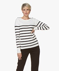 Plein Publique L'Elisa Striped Pullover with Silk - Ecru/Black