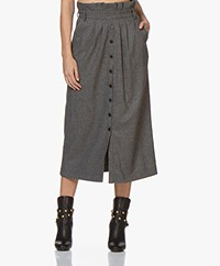 ba&sh Cohle Wool Blend Paperbag Skirt - Anthracite