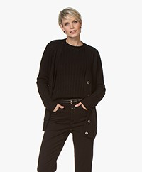 Repeat Luxury Cashmere Rib Knitted Cardigan - Black