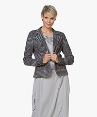 Josephine & Co Avi Jacquard Jersey Blazer - Check Navy