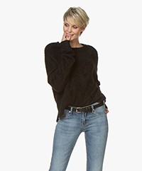 Denham Nikko Fluffy Viscose Blend Sweater - Black
