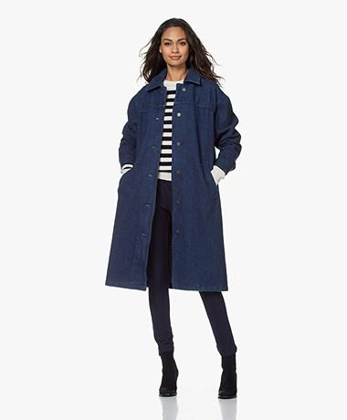 American Vintage Kanifield Long Brushed Denim Coat - Raw Blue