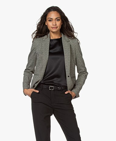Drykorn Selsey Tailored Herringbone Blazer - Black/Cream