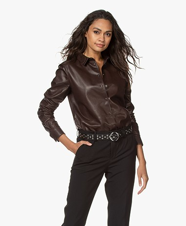 Closed Juna Leather Shirt - Dark Lava