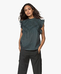 ba&sh Wood Mouwloze Broderie Anglaise Blouse - Forest