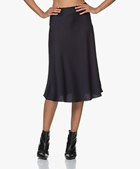 ba&sh Reddy Crepe Satin Skirt - Dark Blue
