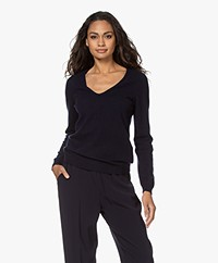 Repeat Cashmere V-hals Pullover - Navy