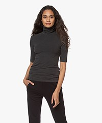 Majestic Filatures Brushed Jersey Turtleneck T-shirt - HD Black