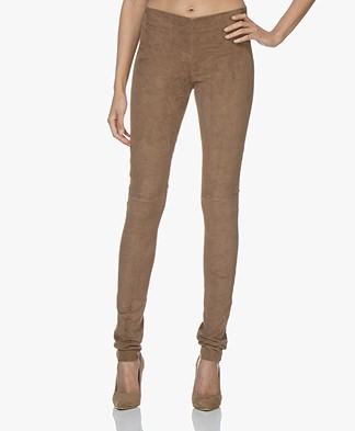 Joseph Leren Stretch Suède Legging - Coffee