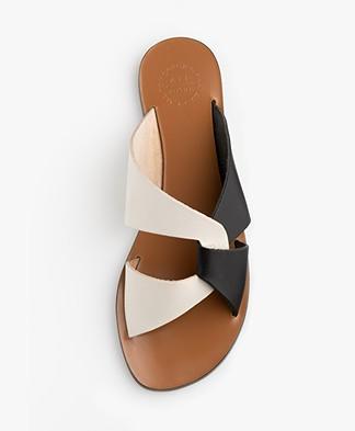 ATP Atelier Allai Leather Slipper Sandals - Ice White/Black