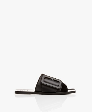 ATP Atelier Ceci Leather Buckle Slipper Sandals - Black