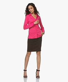 Buzinezz By BRAEZ Tech Jersey Splithals Blouse - Roze