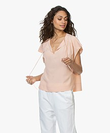 Drykorn Pazia Silk Blend Crepe Blouse Top - Apricot Pink