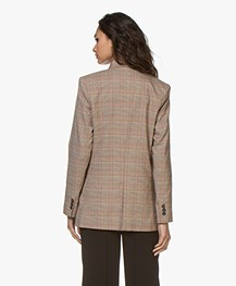Repeat Checkered Blazer - Brown