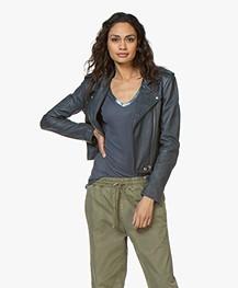 IRO Ashville Leather Biker Jacket - Industrial Blue