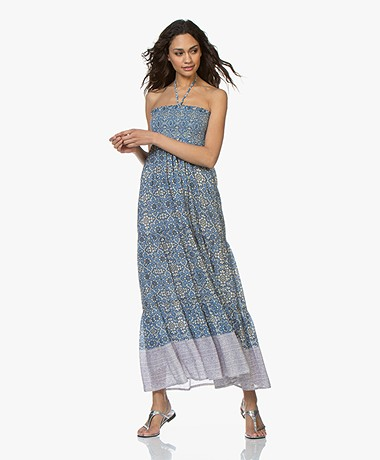 Vanessa Bruno Ideo Seersucker Printed Maxi Dress - Royal