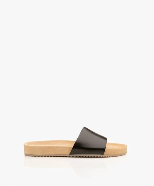 Filippa K Logan Leren Slippers - Zwart