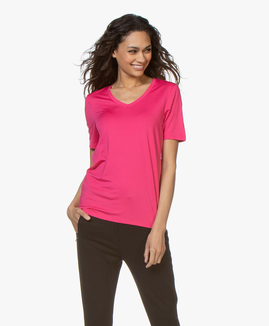 Afbeelding van Buzinezz By BRAEZ T shirt Tech Jersey V hals in Roze