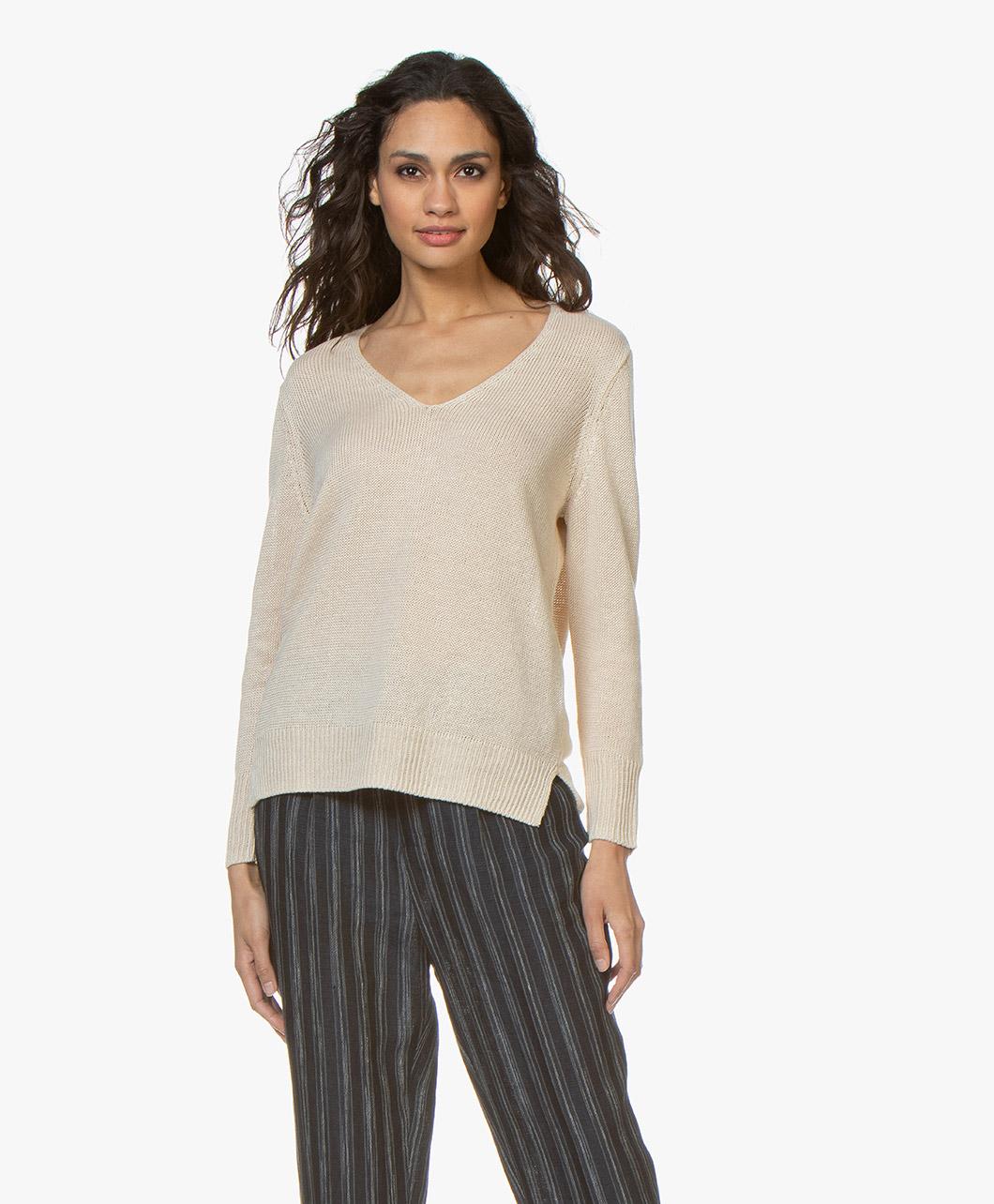 2c7dda92f54 Filippa K Shiny Linen V-neck Sweater - Sahara - 25947 8237 - sahara