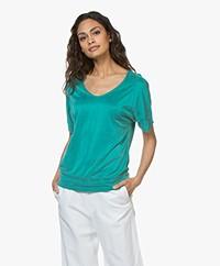 no man's land Cupro Jersey T-Shirt - Persian Green