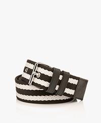 By Malene Birger Canvas Striped Belt - Black/White