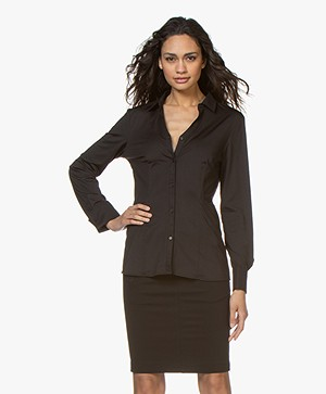 Buzinezz By BRAEZ Tech Jersey Slit Neck Blouse - Black