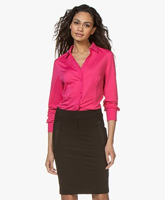 Buzinezz By BRAEZ Tech Jersey Slit Neck Blouse - Pink
