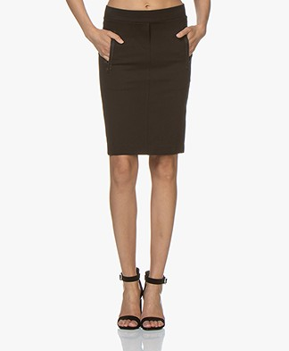 Buzinezz By BRAEZ Twill Jersey Pencil Skirt - Black