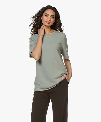 extreme cashmere N°64 Long Knitted T-shirt - Bean