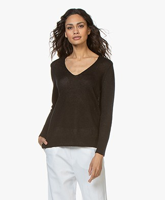 Filippa K Shiny Linen V-neck Sweater - Black