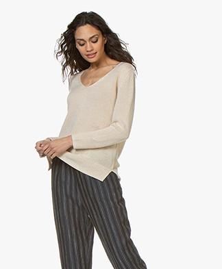 Filippa K Shiny Linen V-neck Sweater - Sahara