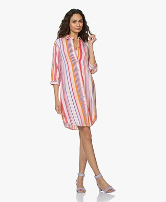 Josephine & Co Charley Striped Linen Shirt Dress - Pink